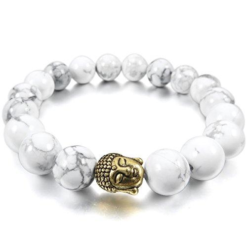 MunkiMix 10mm Lega Bracciale Energia Collegamento Polso Energia Stone Oro Bianco Howlite Turchese Buddha Preghiera (Oro 10 Stone)