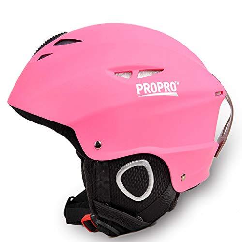 Teenager Skihelm Jungen Mädchen Snowboard Sport Outdoor Kopfschutzhelm 54-58 cm (Farbe : Pink)