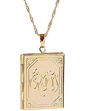 Damen oder Herren trendiges 18K echt vergoldet Medaillon Allah Anhänger Ketten