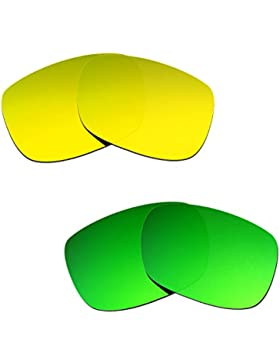 Hkuco Plus Mens Replacement Lenses For Oakley TwoFace 24K Gold/Emerald Green Sunglasses