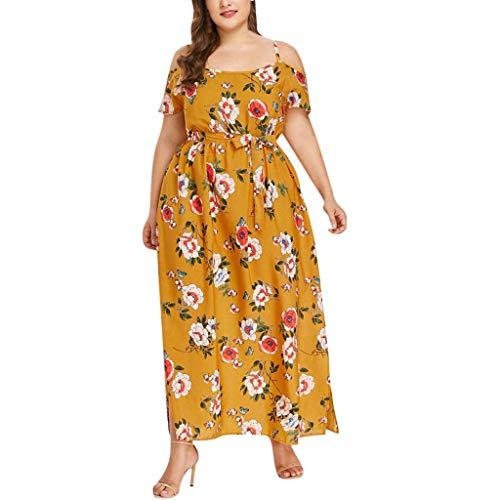übergröße Kleider Kolylong Damen Elegant V-Ausschnitt Blumen Kleid Lang Festlich Chiffon Kurzarm...