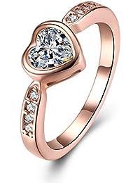 331a7847ec1a YAZILIND joyería 18 k Rosa de Oro Chapado en Forma de corazón incrustado  Cubic Zirconia Mujeres Anillo para…