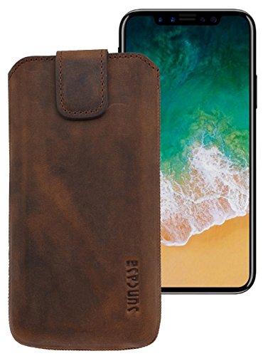 Suncase ECHT Ledertasche Leder Etui für iPhone X Tasche (mit Rückzugsfunktion und Klettverschluss) antik-cognac antik-coffee