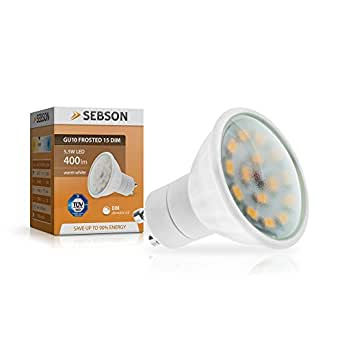 SEBSON LED Lampe GU10 dimmbar 6W (5.5W), ersetzt 40W Halogen, warmweiß, 400lm, Leuchtmittel 110°, 230V
