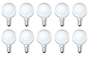 Lot de 10 ampoules sphériques à incandescence Blanc opale Mat E14 25 W