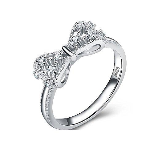 Uloveido Mädchens 925 Sterlingsilber Weißes Gold Überzogen Klare CZ Hochzeitsband Jubiläum Criss Cross Ring Y383 - Ring Cross Frauen Criss