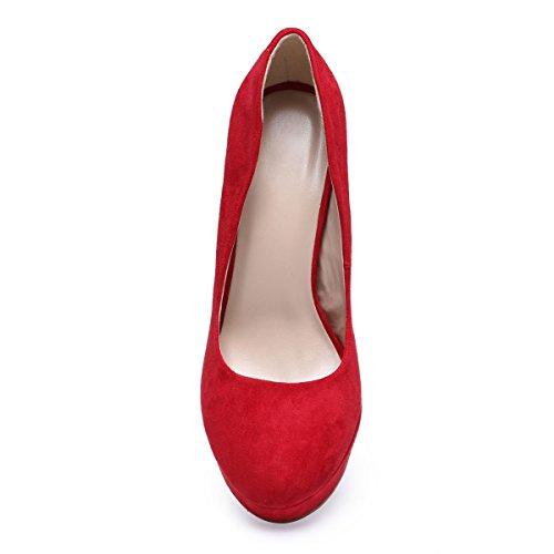 La Modeuse - Escarpins femme aspectdaim Présence d'une plateforme pour un meilleur confort Rouge