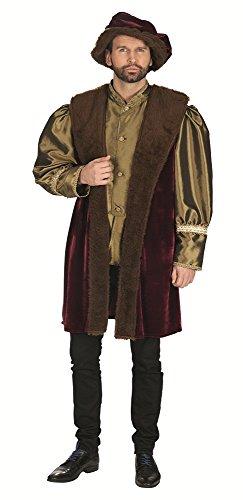 Kostüme Renaissance Mittelalter (Mantel mit Barett Edler Henry Kostüm für Herren Gr. 54)