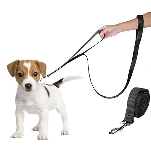 Hundeleine mit Doppelgriff Lange Starke Gurtband Nylon Führleine Schleppleine Übungsleine Trainingsleine Schwarz