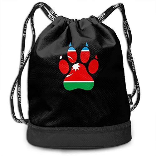 wwoman Azerbaijan Dog Paw Drawstring Bag Für Herren Und Damen, 100% Polyester Athletic Handtaschen -