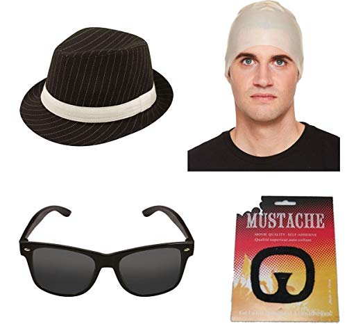 Islander Fashions Herren Breaking Bad Walter Wei�es Kleid Zubeh�r Brille Schnurrbart Hut Glatze Cap Set One - Breaking Bad Kostüm Party
