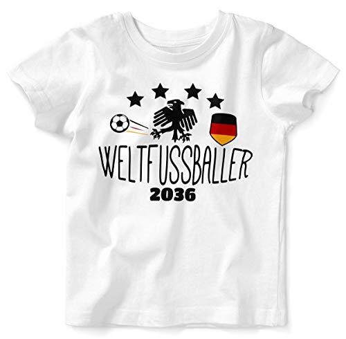 Mikalino Baby/Kinder T-Shirt mit Spruch für Jungen Mädchen Unisex Kurzarm Weltfussballer 2036 | handbedruckt in Deutschland | Handmade with Love, Farbe:Weiss, Grösse:92/98
