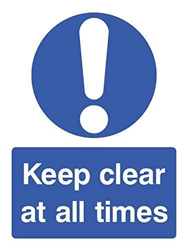Keep Clear at All Times Zeichen Hochformat Version Zeichen Aufkleber Lustige Hinweis Gefahr, Warnaufkleber für Propety Vinyl Hinweisschild Lable Aufkleber Aufkleber selbstklebend 30 x 40 cm -