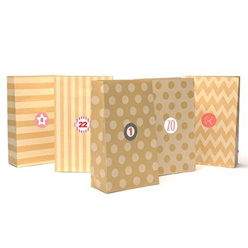 Plantvibes ® 24 Geschenktüten aus hochwertigem Kraftpapier mit schönem Muster inkl. Sticker | Vintage Papiertüten für Adventskalender zum Selber-machen für Kinder | Weihnachtstüten | Geschenk-taschen