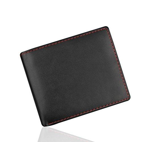 Rovinci Männer Geldbörse Portemonnaie Brieftasche Geschäft Leder (PU) Börse ID Kreditkarteninhaber Geldbeutel Tasche (Schwarz)