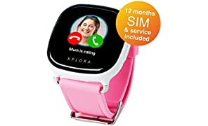 XPLORA smartwatch for kids (White, UK SIM with 12 months of calls, data and service included)