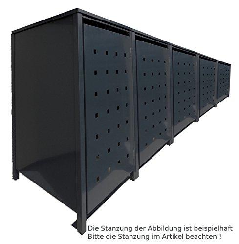 BBT@ | Solide Mülltonnenbox für 5 Tonnen je 240 Liter mit Klappdeckel in Schwarz (RAL 9005) / Ohne Stanzung / Aus robustem pulver-beschichtetem Metallblech / Versch. Farben + Blech-Stanzungen erhältlich / Mülltonnen-Verkleidung Müll-Boxen Müll-Container