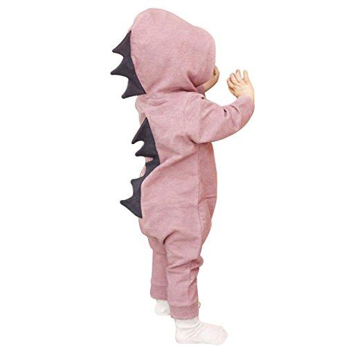 (Originaltree Baby Jungen Mädchen Overall Kapuzenpullover Dinosaurier Kostüm für Neugeborenes Kleinkind Klettern Kleidung size 1-2 Jahre (Rosa))