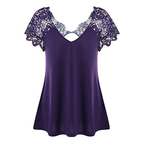 b2aae4ca8a Juleya Camiseta Mujer Camisa de Encaje O Cuello Corto Mangas Tops Blusa  Ajustada de Color Solide