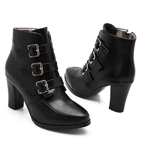 COOLCEPT Femmes Mode Bottes Fermeture Eclair Black