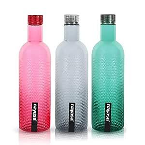 Nayasa Super PLASTE Plastic Bottle, 1000ML, Set of 3, Multicolour