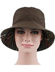 ToxTech Señora de las mujeres más nuevo recorrido verano al aire libre de la playa de moda plegable tela cubo sombrero de sol doble cara doble colores (Verde)