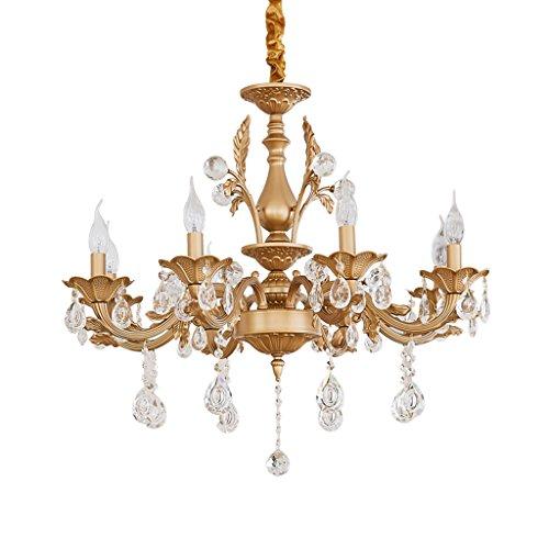 Lustre Salon américain chambre restaurant européen luxe pastorale en alliage de zinc lustre en cristal Éclairage décoratifA+ ( taille : 8 Head )
