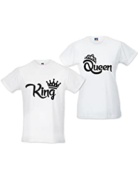 Babloo Coppia di T Shirt Magliette Love You and Me King e Queen con Corona