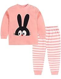 Meedot Pyjama Set für Baby, 2 Stück Baumwolle Langarm Winter Warm Nachtwäsche für 0-5 Jahre alt Kinder