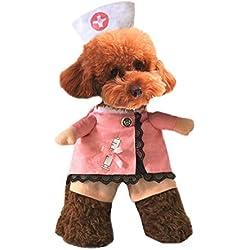 Xiaoyu Cachorro Perro Gato Enfermera Disfraz de Halloween Cosplay Fiesta Traje Traje Traje para Perros pequeños y Gato, L