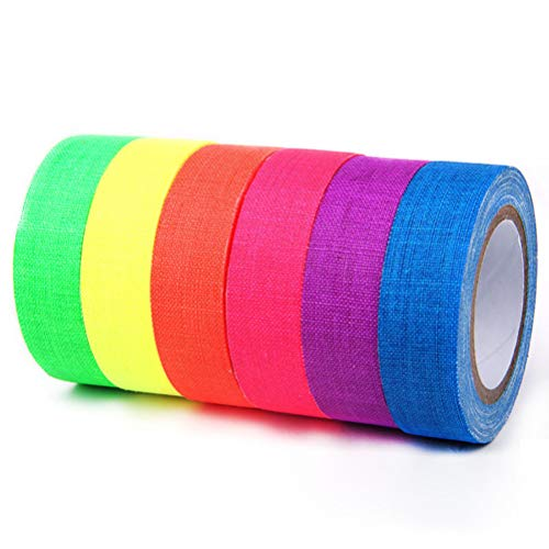 Encoco 6 Stück Klebeband UV Schwarzlicht reaktiv, 6 Farben fluoreszierendes Gewebeband Neon Gaffer Tape Fun DIY Lehrer Kunst Supplies Büro und Dekoration, 152,4 m