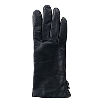 Gaucho Genuine Wool Lined Ladies Leather Black Gloves Size 8