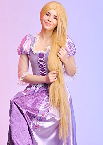 Damen Extra lange Blonde Ripunzel Fancy Dress Perücke