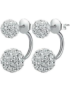 Abeillo 925 Sterling Silber Ohrringe 1 Paar Kristall Disco Shamballa Kugel Ohrstecker