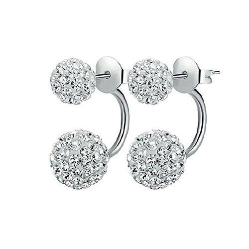 Abeillo 925 Sterling Silber Ohrringe 1 Paar Kristall Disco Shamballa Kugel (Silber Kugel Ohrringe Disco)