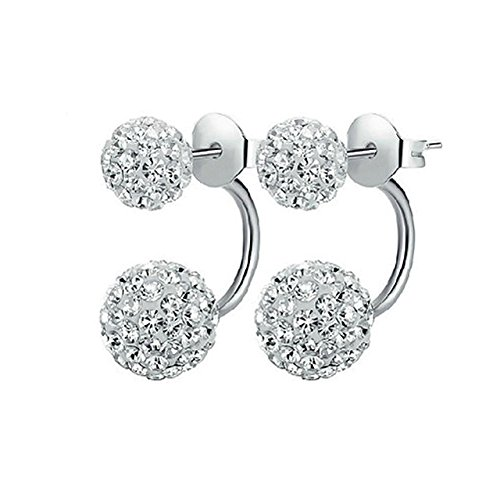 Abeillo 925 Sterling Silber Ohrringe 1 Paar Kristall Disco Shamballa Kugel (Kugel Disco Silber Ohrringe)