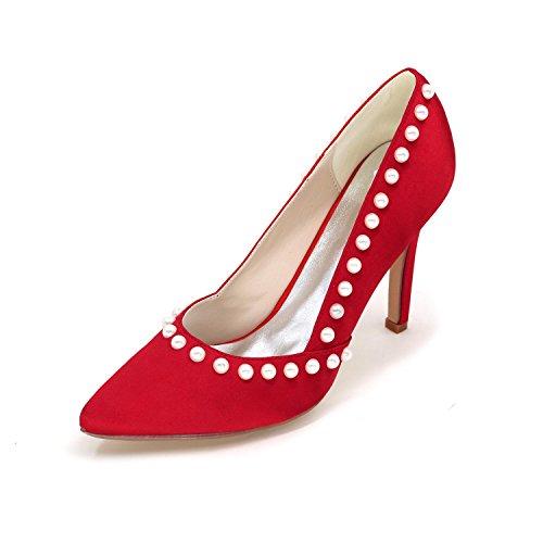 L@YC Femmes Talons Hauts Pointues Chaussures De Mariage PersonnaliséEs Grandes Yards Ont Plus De Couleurs Disponibles red
