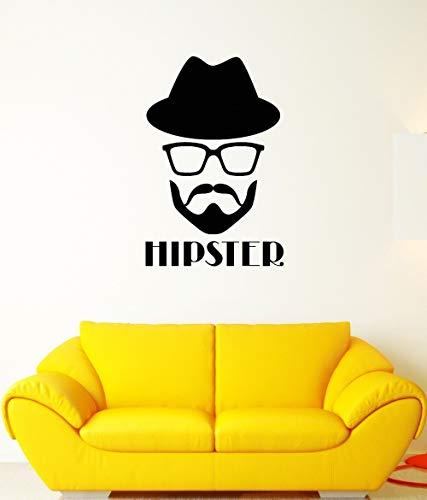 haotong11 Aufkleber Hipster Brille Hut Bart Mode Kopf Wandvinyl Aufkleber 27 * 43cm