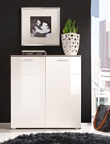 Kommode Highboard Shane 88x91x39cm Wohnzimmerschrank, Korpus Eiche Trüffel Design, Front Magnolie Hochglanz tiefgezogen