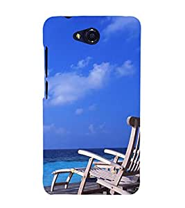 Fuson Designer Back Case Cover for Micromax Bolt Q338 (Relaxing Chair Beach Clear water Clear Sky Tourist DestinATion)