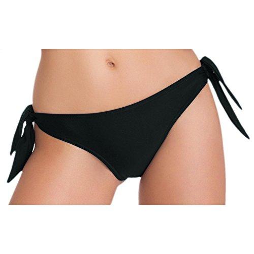 Aquarti Damen Tanga-Bikinihose Seitlich Gebunden Bikini-Slip Badehose Schwarz Weiß Rot Blau Grau, Farbe: Schwarz, Größe: 38
