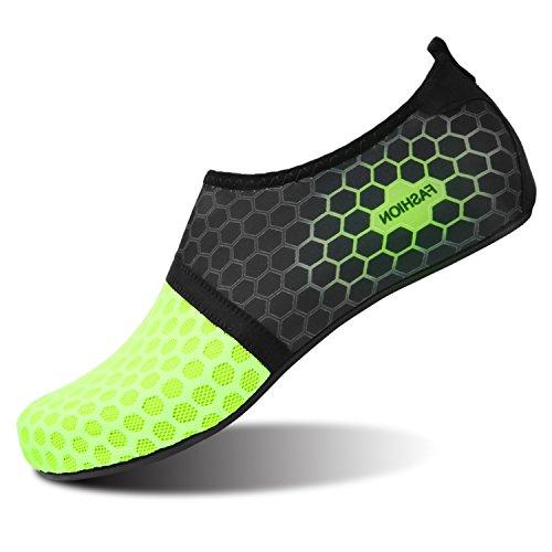 4f768bf8fb1 L-RUN Zapatos Descalzos para Mujer para Nadar Surf Dot Green L (W  6.5-7