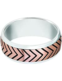 Sterling Silver 14ct Rose Gold, Tread Motiff 8MM Band (sz H to Z3)