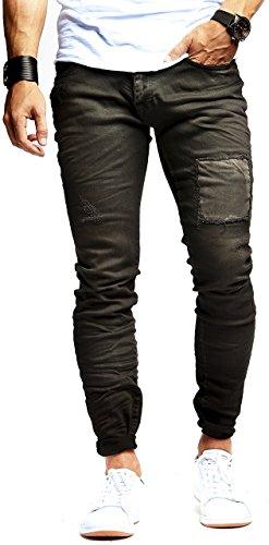 LEIF NELSON Herren Jeans Hose Jeanshose Stretch Schwarz Freizeithose Denim Slim Fit LN9950SC; W32L32, Blau
