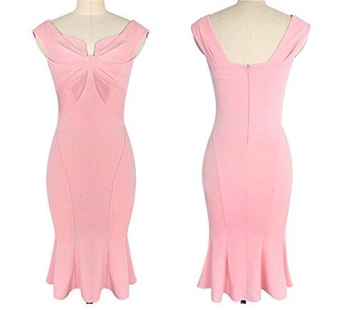 SHUNLIU 2017 Sommer Damen Kleid Elegant hoch Taille Knielang Etuikleid Klassik Business Kleider mit Fishtail Pink