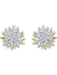Asmitta Intricately Flower Shape American Diamond Gold Plated Stud Earring For Women