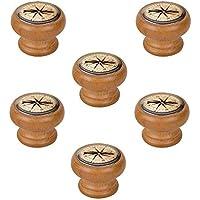 6 Un. Pomo TIRADOR Mueble Vintage Retro madera tinte miel BRUJULA - Diámetro 40MM