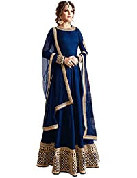 Ethnic Empire Women Banglory Silk Anarkali Semi-Stitched Wedding Salwar Suits For Women (DIV_FlexER10619_Blue_Free...