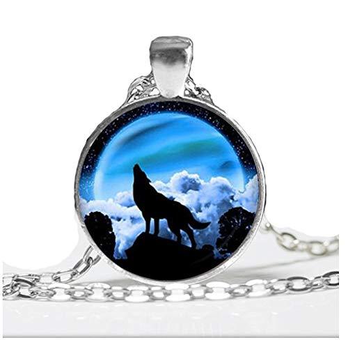 GUHUA Blue Moon Anhänger Halskette Wolf Schmuck Tier Halskette Frauen Geschenk Glaskuppel Runde Anhänger Wolf Halsband