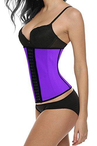 Charmian Women's Latex Waist Training Underbust Corset Weight Loss Body Shaper Purple